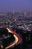 Hollywood Freeway and skyline at dusk Stock Image