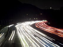 Hollywood Freeway Traffic Lights Night Shot Royalty Free Stock Photography