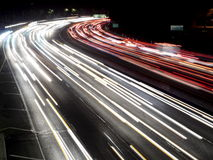 Hollywood Freeway Traffic Lights Night Shot Royalty Free Stock Photos
