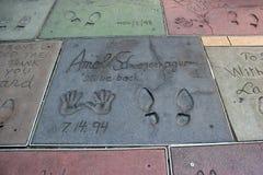 Hollywood går av berömmelse på den Hollywood boulevarden, Los Angeles, Cali arkivfoton