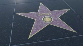Hollywood går av berömmelsestjärnan med den CHICAGO inskriften Redaktörs- tolkning 3D vektor illustrationer