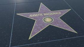 Hollywood går av berömmelsestjärnan med den JEANETTE MACDONALD inskriften Redaktörs- tolkning 3D vektor illustrationer