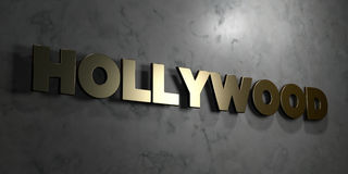 Hollywood - Gold sign mounted on glossy marble wall - 3D rendered royalty free stock illustration. This image can be used for an online website banner ad or a vector illustration
