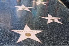 Hollywood går av berömmelse Mickey Mouse Arkivfoton