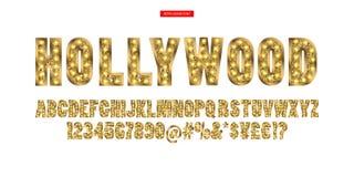 hollywood Guld- alfabet för färg med showlampor stock illustrationer