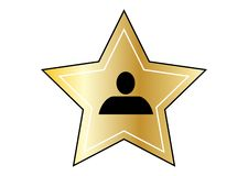 Hollywood guld- stjärna på vit bakgrund vektor illustrationer
