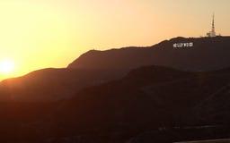 Hollywood Hills en puesta del sol hermosa Foto de archivo libre de regalías