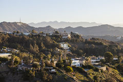 Hollywood Hills Homes below Hollywood Sign Royalty Free Stock Photography