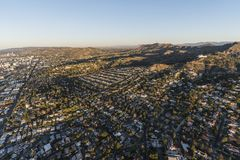 Hollywood Hills Homes Morning Aerial Stock Photography
