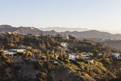 Hollywood Hills, Homes and Sign Royalty Free Stock Images
