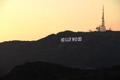 Hollywood Hills på solnedgången Arkivfoto
