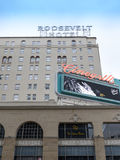 Hollywood Hotel Roosevelt. Famous Hollywood Hotel Roosevelt exit looking back at the parking lot, entrance and hotel Stock Images