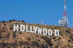 HOLLYWOOD - January 26: The world famous landmark Hollywood Sign in Hollywood, California. Royalty Free Stock Image