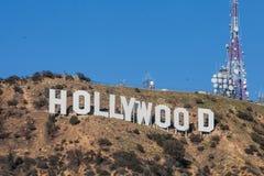 HOLLYWOOD - 26 janvier : Le connexion de renommée mondiale Hollywood, la Californie de Hollywood de point de repère Image libre de droits