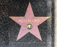 Actor Nicolas Cage's star on Hollywood Walk of Fame Stock Images