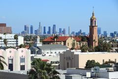 Hollywood and LA. Downtown Los Angeles skyline seen from Hollywood Royalty Free Stock Photo