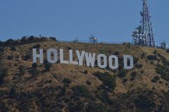 Hollywood Letters Viewed From A Very Close Point. July 7, 2017. Hollywood Los Angeles California. USA. EEUU stock photos