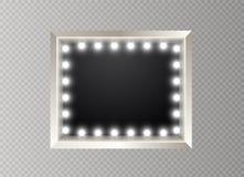 Hollywood-Lichter Belichtete realistische Fahne lokalisiert auf transparentem Hintergrund Vektorglanz-Schnurbirnen Las Vegas stock abbildung