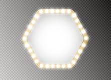 Hollywood-Lichter Belichtete realistische Fahne lokalisiert auf transparentem Hintergrund Vektorglanz-Schnurbirnen Las Vegas vektor abbildung