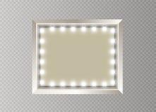 Hollywood-Lichter Belichtete realistische Fahne lokalisiert auf transparentem Hintergrund Vektorglanz-Schnurbirnen Las Vegas lizenzfreie abbildung