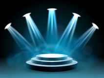 Hollywood lighting stage for performance. Hollywood lighting stage vector concert with lights for entertainment performance Royalty Free Stock Images