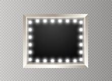 Hollywood lights. Illuminated realistic banner isolated on transparent background. Vector shine string bulbs. Las Vegas. Casino night party sign. Glowing lights stock illustration