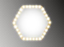 Hollywood lights. Illuminated realistic banner isolated on transparent background. Vector shine string bulbs. Las Vegas. Casino night party sign. Glowing lights vector illustration