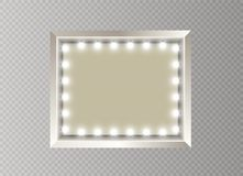 Hollywood lights. Illuminated realistic banner isolated on transparent background. Vector shine string bulbs. Las Vegas. Casino night party sign. Glowing lights royalty free illustration