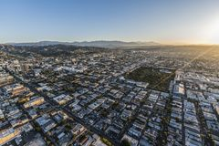 Hollywood Los Angeles Morning Aerial View. Los Angeles, California, USA - February 20, 2018:  Aerial morning view of Hollywood neighborhood in LA Stock Photo