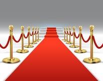 Hollywood luksus i elegancki czerwony chodnik z schodkami w perspektywicznej wektorowej ilustraci ilustracja wektor