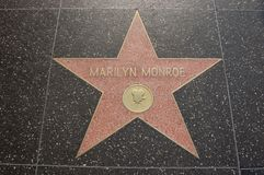 Hollywood - Marilyn Monroe Walk Of Fame. The star dedicated to Marilyn Monroe on the Walk of Fame in Los Angeles stock photography
