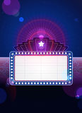 Hollywood Marquee. Theatre marquee on blue and purple with lens flare effect Royalty Free Stock Images