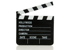 Hollywood Movie Clapboard. On white background Royalty Free Stock Images