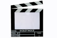 A Hollywood movie clapper board (Clap slate). Isolated in white Stock Photos