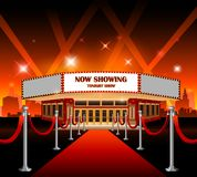 Hollywood movie red carpet movie theater. Red carpet with Hollywood sign on background Stock Photography