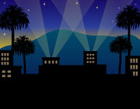 Hollywood Night. Illustration of a Hollywood opening night setting Royalty Free Stock Images