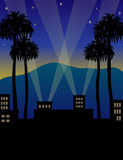 Hollywood Night/eps. Illustration of a Hollywood opening night setting Stock Photo