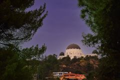 Hollywood observatory and Hollywood Hills Royalty Free Stock Photos