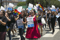 Hollywood occidental, Los Angeles, la Californie, Etats-Unis, le 14 juin 2015, quarantième Pride Parade gai annuel pour la Commun Photo stock