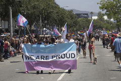 Hollywood occidental, Los Angeles, la Californie, Etats-Unis, le 14 juin 2015, quarantième Pride Parade gai annuel pour la Commun Photographie stock