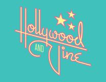 Hollywood och för vinranka Retro vektordesign med stjärnor royaltyfri illustrationer