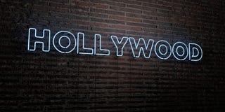 HOLLYWOOD - realistiskt neontecken på bakgrund för tegelstenvägg - 3D framförd fri materielbild för royalty vektor illustrationer