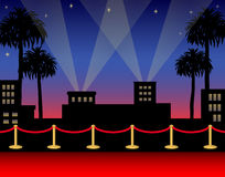 Hollywood Red Carpet/ai. Illustration of a premier red carpet in a Hollywood opening night setting Royalty Free Stock Image