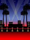 Hollywood Red Carpet/eps. Illustration of a red carpet in a Hollywood night setting Stock Photos