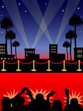 Hollywood Red Carpet/eps. Illustration of a red carpet in a Hollywood night setting with paparazzi Royalty Free Stock Photos