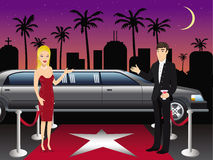Hollywood red carpet hosts. Cartoon illustration of a hosts at a Hollywood red carpet Stock Images
