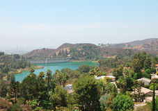 Hollywood Reservoir. Los Angeles view Royalty Free Stock Image