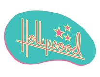 Hollywood Retro Vector Design with Stars. Custom hand drawn script design of the word Hollywood with retro 1950s style vibe, reminiscent of old motel and diner Stock Photo