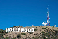 Hollywood se connectent des montagnes de Santa Monica à Los Angeles Photos libres de droits