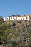 Hollywood Sign. Image of the Hollywood Sign with yellow flowers in the foreground Royalty Free Stock Images